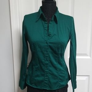 APT 9 Emerald Green Collar Button Down Long Sleeve